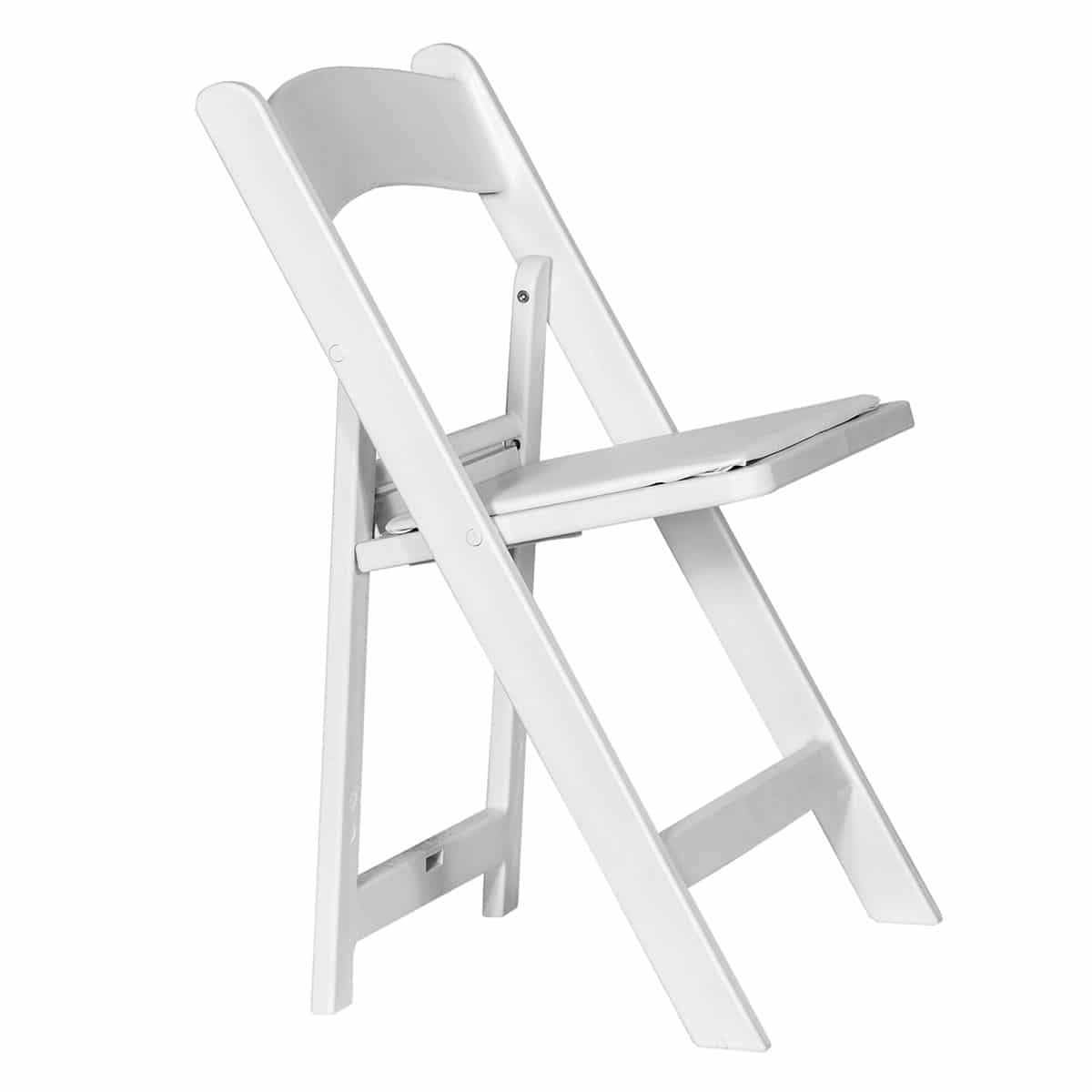 Economic white folding chair Sphinx model - Side view