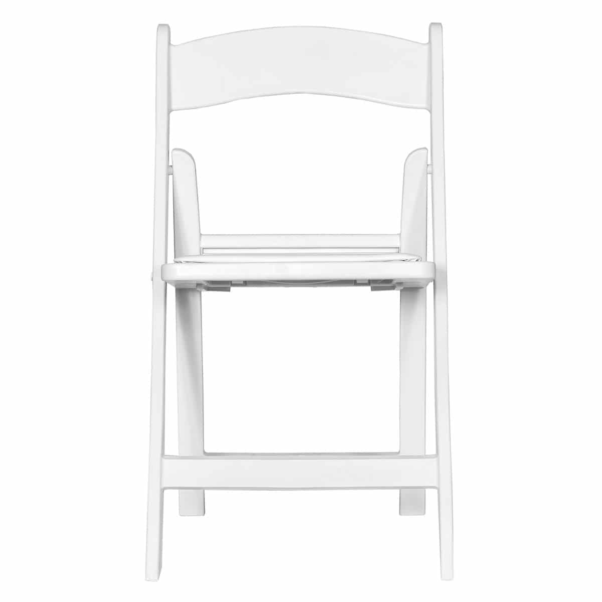 Economic white folding chair Sphinx model - Front view